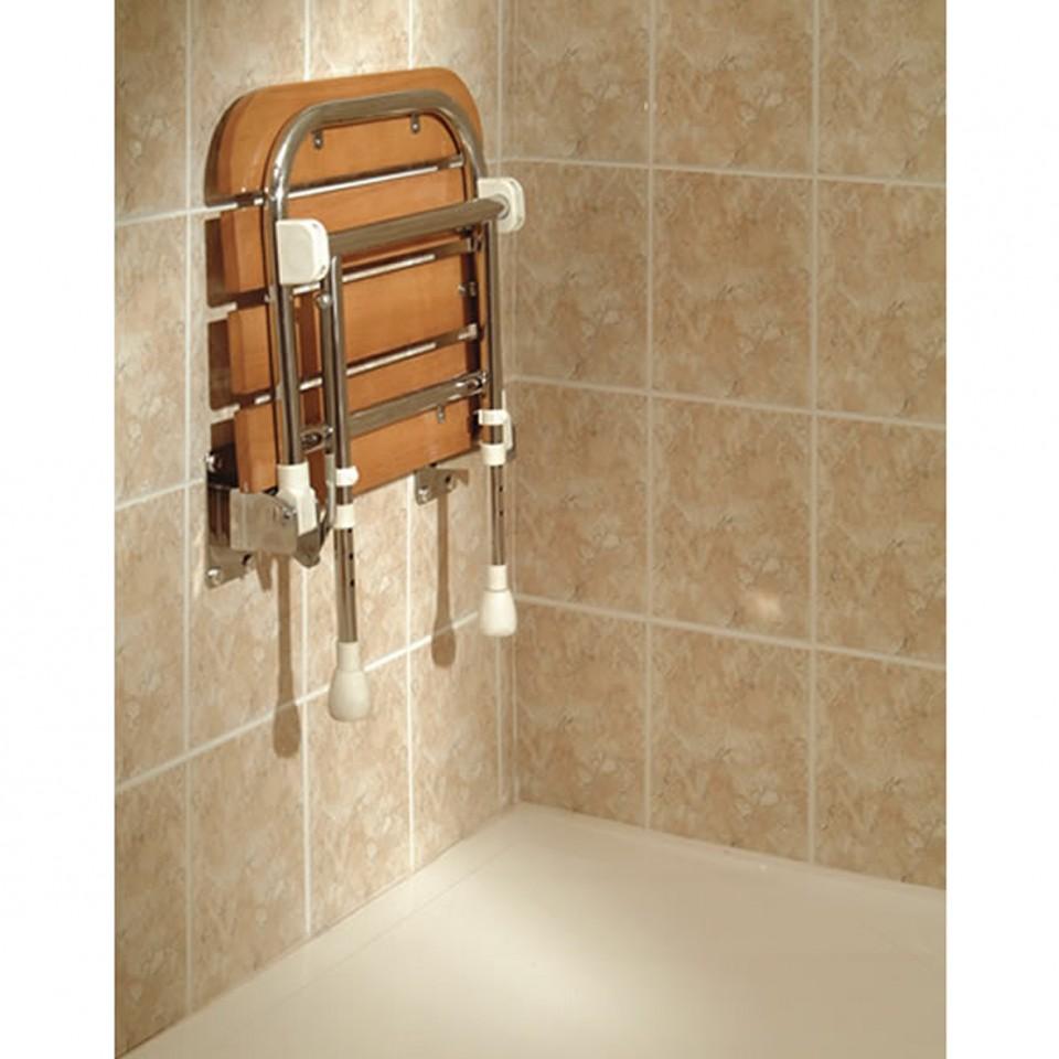 Foldable Shower fold up | wooden slatted | shower seat